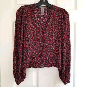 Floral Cropped V-Neck Button Blouse w Back Tie